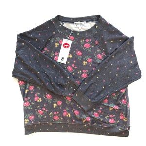 •WILDFOX• Floral Crew Sweater Grey